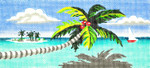 BR33SKU Lee's Needle Arts Palm Tree And Boat Hand-painted canvas - 18 Mesh 8.25in. X 4in.