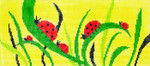 BR46SKU Lee's Needle Arts Ladybugs Hand-painted canvas - 18 Mesh 8.25in. X 4in