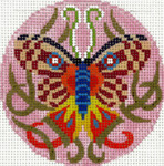 BJ184SKU Lee's Needle Arts  Butterfly Mask Hand-painted canvas - 18 Mesh 3in. Round