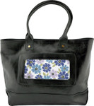 BAG50 Lee's Needle Arts Black Italian Leather Tote 17.5in. x 11in. x 5in.
