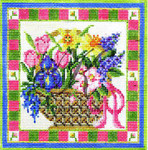 KC-KWP09A Spring Flowers Basket 4.6 x 4.6 18 Mesh With Stitch Guide KELLY CLARK STUDIO, LLC
