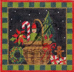 KC-KCN233 Christmas Basket 4.6 x 4.6 18 Mesh With Stitch Guide And Embellishment Kit KELLY CLARK STUDIO, LLC