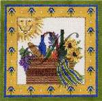 KC-KCN234 Provence Picnic Basket 4.6 x 4.6 18 Mesh With Stitch Guide And Embellishment Kit KELLY CLARK STUDIO, LLC