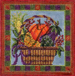 KC-KWP11 Autumn Harvest Basket 4.6 x 4.6 18 Mesh With Stitch Guide And Embellishment Pack KELLY CLARK STUDIO, LLC