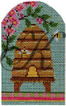 "KC-KCBee06 Spring Skep with Cherry Blossoms 2.75""w x 4.25""h 18 Mesh With Stitch Guide KELLY CLARK STUDIO, LLC"