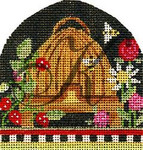 "KC-KCBee01 Folk Art Bee Skep w/ Strawberries 3.25""w x3.5""h 18 Mesh With Stitch Guide KELLY CLARK STUDIO, LLC"