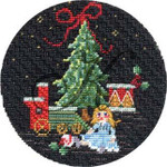 "KC-KCN 232 Antique Toys & Train - Black Round 4.5"" round 18 Mesh KELLY CLARK STUDIO, LLC"