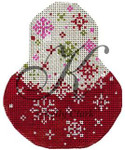 "KC-KCN1430 Red Velvet Snowflake Pear 3.5""w x 4.5""h 18 Mesh KELLY CLARK STUDIO, LLC"