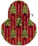 "KC-KCN1429 Christmas Trees on Red Pear 3.5""w x 4.5""h 18 Mesh KELLY CLARK STUDIO, LLC"