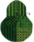 "KC-KCN1428 Christmas Green Sampler Pear 3.5""w x 4.5""h 18 Mesh KELLY CLARK STUDIO, LLC"