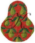 "KC-KCN1413 Green Anjous on Red Pear 3.5""w x 4.5""h 18 Mesh KELLY CLARK STUDIO, LLC"