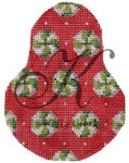 "KC-KCN1411 Wintergreens on Red Anjou Pear 3.5""w x 4.5""h 18 Mesh With Stitch Guide KELLY CLARK STUDIO, LLC"