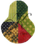 """KC-KCN1404 Crazy Quilt Sampler Pear 3.5""""w x 4.5""""h 18 Mesh With Stitch Guide KELLY CLARK STUDIO, LLC"""
