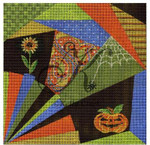 "KC-KCA013 Halloween Crazy Quilt 7.8"" square 18 Mesh With Stitch Guide KELLY CLARK STUDIO, LLC"