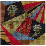 "KC-KCA011 -18 Springtime Crazy Quilt 7.8"" square 18 Mesh With Stitch Guide KELLY CLARK STUDIO, LLC"