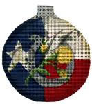 "KC-KCNTX-04 Yellow Rose & Horseshoe Ball Ornament 3.5""Round 18 Mesh KELLY CLARK STUDIO, LLC"