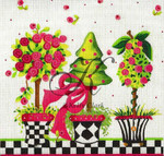"KC-KCN905 Pink Posies Topiary 9"" square 18 Mesh KELLY CLARK STUDIO, LLC"