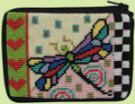 APSZ191 CREDIT CARD & COIN PURSE Alice Peterson Stitch And Zip Dragonfly Coin