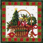 KC-KWP12 December Christmas Basket 4.6 x 4.6 18 Mesh With Stitch Guide KELLY CLARK STUDIO, LLC