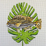 AN122 Colors of Praise 13 Mesh Canvas Striped Fish on Palm