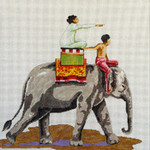 AN131 Colors of Praise 13 Mesh Canvas Elephant w/People