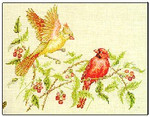8180 Redbirds And Raspberries by Crossed Wing Collection