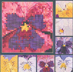 PANSY PORTRAITS (CC) 144 x 144 DebBee's Designs Counted Canvas Pattern