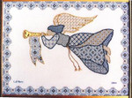 BLUE & GOLD ANGEL (CC) Laura J Perin Designs Counted Canvas Patternn