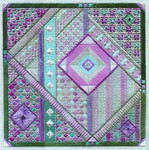 FLUORITE FANTASY (CC) 178 x 178  Includes: embellishments Laura J Perin Designs Counted Canvas Patternn