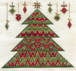 BARGELLO CHRISTMAS TREE W/EMBELLISHMENTS (CC) 196w x 186h - 18ct canvas  Includes: embellishments Laura J Perin Designs Counted Canvas Patternn