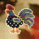 MH187203 Mill Hill Seasonal Ornament / Pin Kit Provence Rooster (2007)