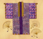 KIMONO WITH FANS W/EMB  Laura J Perin Designs Counted Canvas Pattern Only