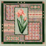 BEARDED IRIS COLLAGE W/EMB  Laura J Perin Designs Counted Canvas Pattern