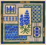 BLUEBONNET COLLAGE W/EMB Laura J Perin Designs Counted Canvas Pattern