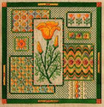 CALIFORNIA POPPY COLLAGE W/EMB  Laura J Perin Designs Counted Canvas Pattern