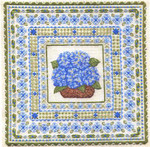 BLUE HYDRANGEAS (CC) 252 x 252 - 24ct canvas Laura J Perin Designs Counted Canvas Pattern