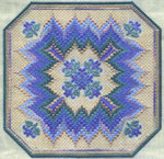 BARGELLO & VIOLETS (CC) 186 x 186 - 18ct canvas  Includes: beads Laura J Perin Designs Counted Canvas Pattern