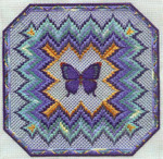 BARGELLO AND BUTTERFLY (CC) 186 x 186 - 18ct canvas  includes: embellishments Laura J Perin Designs Counted Canvas Pattern