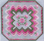BARGELLO & CARNATIONS (CC) 186 x 186 - 18ct canvas Laura J Perin Designs Counted Canvas Pattern
