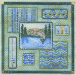 LEAPING TROUT COLLAGE (CC) 162 x 162 - 18ct canvas  Includes: beads Laura J Perin Designs Counted Canvas Pattern
