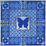 BLUE BUTTERFLY (CC) 178 x 178 - 18ct canvas Laura J Perin Designs Counted Canvas Pattern