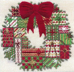HOLIDAY WREATH (CC) 200 x 200 - 18ct canvas  includes: embellishments Laura J Perin Designs Counted Canvas Pattern
