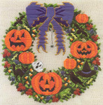 HALLOWEEN WREATH (CC) 188 x 188  Laura J Perin Designs Counted Canvas Patternn