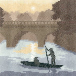 "HCK1280A Heritage Crafts Kit Silhouettes On the River by Thomas Beutel 5"" x 5""; Aida; 14ct"