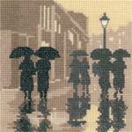"HCK1279A Heritage Crafts Kit Silhouettes Brollies by Thomas Beutel & Phil Smith 5"" x 5""; Aida; 14ct"