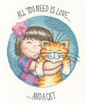 "HCK1282A  Heritage Crafts Kit All You Need Is Love & A Cat - Cats Rule by Peter Underhill  4.5"" x 6.75""; Aida; 14ct"
