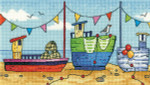 "HCK1277A Heritage Crafts Kit Boats - By The Sea by Karen Carter 7.75"" x 4.5""; Aida; 14ct"
