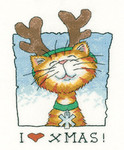 "HCK1275 Heritage Crafts Kit I Love Christmas - Cats Rule by Peter Underhill 11.5"" x 6.75""; Evenweave; 27ct"