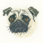 "HCK1274 Heritage Crafts Kit Pug-Little Friends Collection by Valerie PFeiffer and Susan Ryder 2.5"" x 2.25""; Evenweave; 28ct"