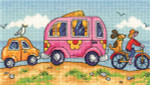 "HCK1272A Heritage Crafts Kit Are We There Yet?  By the Sea by Karen Carter 7 3/4"" x 4 1/2""; Aida; 14ct"
